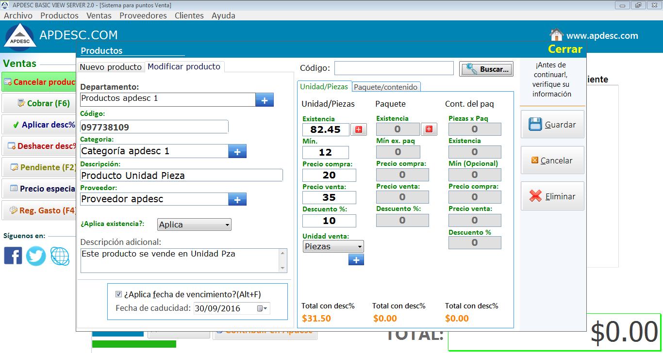 Registro de productos Apdesc Basic Server 2.0