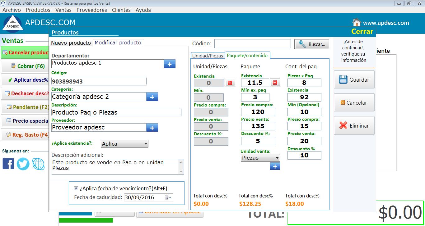 Registro de productos Paq Apdesc Basic Server 2.0