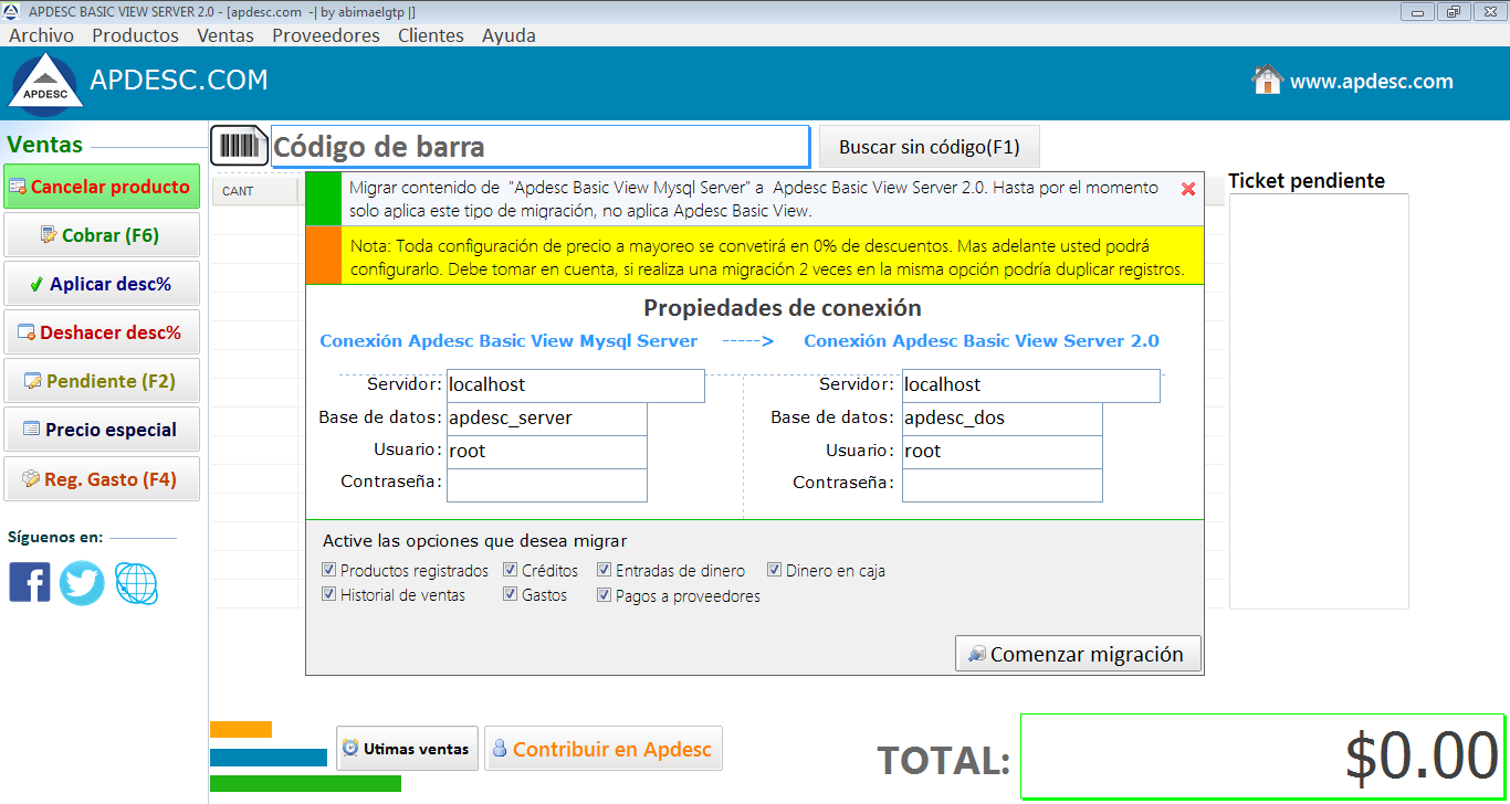 Migración Apdesc Basic View Server